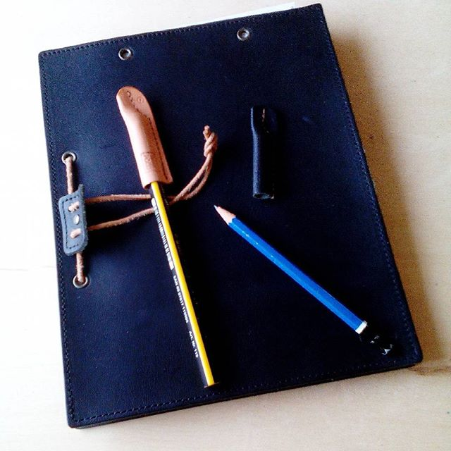 It's my notebook, pencil and pencilcap.#aging #aginginc #aginglabo #leather #menubook #menu #restaurant #hotel #bistro #roll #craft #design #designer #japan #tokyo #革 #レザー #エイジング #stationary #pencil #pencilcap #notebook