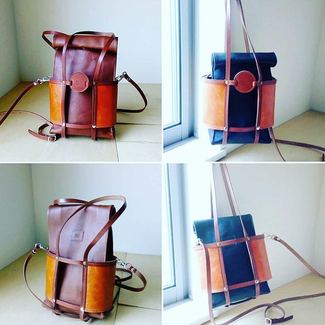 サックホルダー&ショルダー左がサックLサイズ、右はSサイズをセットしています。#leather #menubook #menu #wine #dish #restaurant #hotel #bistro #roll #craft #design #designer #japan #tokyo #メニューブック #革 #レザー #エイジング  #レストラン #革工芸 #レザー #レザークラフト #leathercraft #craft #design #designer #designs #焼印 #leatherbag #紙袋のような革袋 #sack #bag #leatherbag 18:15